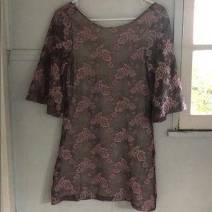 Zara blush lace backless tunic mini-dress